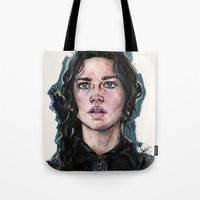 katniss Tote Bags featuring Katniss Everdeen by fridayshooow