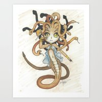 magic the gathering Art Prints featuring Snake Token - Magic the Gathering - Pharika by Deadlance