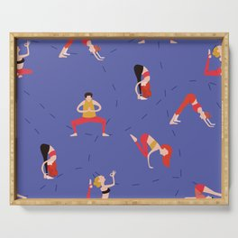Yoga Girls blue lines Serving Tray