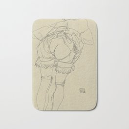 "Egon Schiele ""Girl Bending Forward, Back View"" Bath Mat"