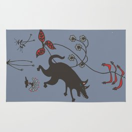 Black Dog Dancing in a Gorey Garden Rug