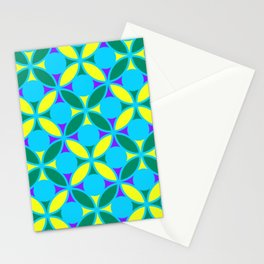 Geometric Floral Circles Vibrant Color Challenge In Bold Purple Yellow Green & Turquoise Blue Stationery Cards