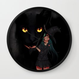 Black Magic Cat Wall Clock