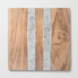 Wood Grain Stripes Concrete #347 Metal Print