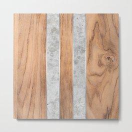Striped Wood Grain Design - Concrete #347 Metal Print