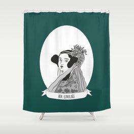 Ada Lovelace Illustrated Portrait Shower Curtain