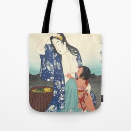 Japanese Antique Woodblock Print - Japanese Woman Breastfeeding a Toddler Tote Bag