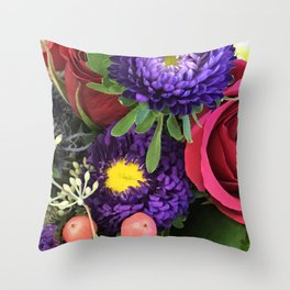 A Happy Bunch Of Colorful Flowers Throw Pillow