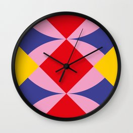 Two fly shaped wrestler's heads intersecating, making a beautiful red square in the center. Wall Clock
