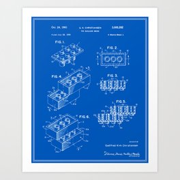 Invention art prints society6 lego building brick patent blueprint art print malvernweather Choice Image
