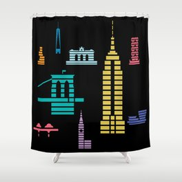New York Skyline Empire State Poster Black Shower Curtain