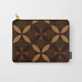 Geometric Floral Circles In Browns & Orange Carry-All Pouch