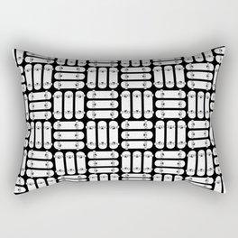 Skateboard Rows Pattern Black and White Rectangular Pillow