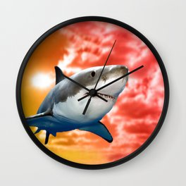 Shark flying in red sky Wall Clock
