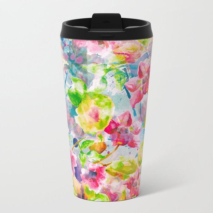 Watercolor Flowers Metal Travel Mug