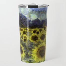 Sunflower Fields Of Dreams Art Travel Mug