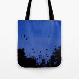 Night flight of the birds in the forest Tote Bag