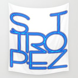 St. Tropez in blue neon Wall Tapestry