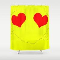 emoji Shower Curtains featuring Happy Emoji by Rissarae Designs