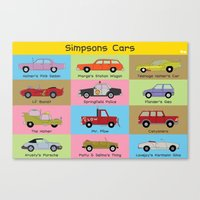 simpsons Canvas Prints featuring Simpsons Cars by SIME Design