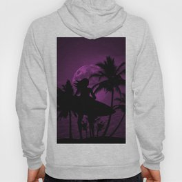 Purple Dusk with Surfergirl in Black Silhouette with Shortboard Hoody
