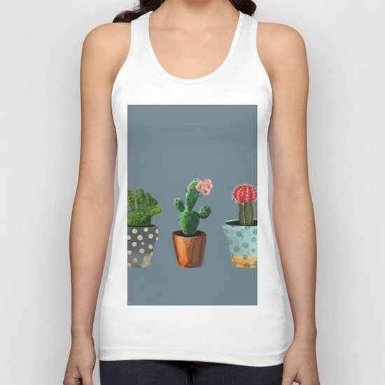 Three Cacti With Flowers On Blue Background Unisex Tank Top