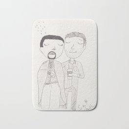 Sam and Scott - flu season Bath Mat