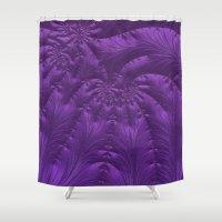 renaissance Shower Curtains featuring Renaissance Purple by Charma Rose