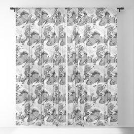 Wrestle (Black & White) Sheer Curtain