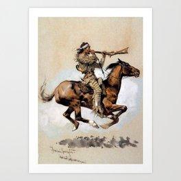 "Frederic Remington ""Buffalo Hunter Spitting Bullets"" Western Art Art Print"