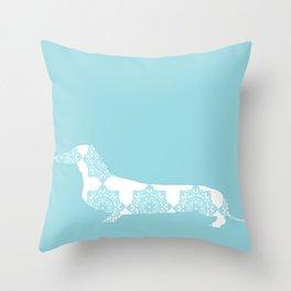 Blue Damask Daschund Throw Pillow