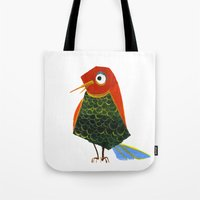 birdy Tote Bags featuring Birdy by KristinaVardazaryan