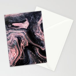 Stylish rose gold abstract marbleized design Stationery Cards