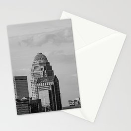 Downtown Louisville Skyline - Black and White Stationery Cards