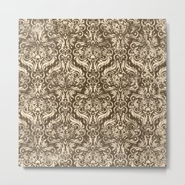 Classic Damask - Chocolate Brown Metal Print