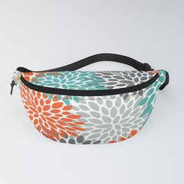 Floral Pattern, Abstract, Orange, Teal and Gray Fanny Pack