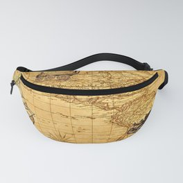 Vintage-Style World Map - North & South America Fanny Pack