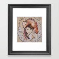 Safe in My Red Riding Hood, Balsa Framed Art Print
