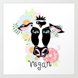 Vegan cow Art Print