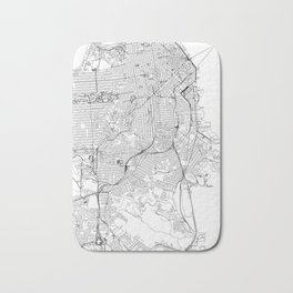San Francisco White Map Bath Mat