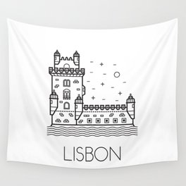 Belém Tower Lisbon Portugal Black and White Wall Tapestry