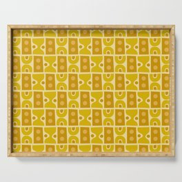 Mid Century Abstract Pattern Yellow Ochre Serving Tray
