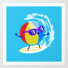Lets Surf The Ocean Together! Art Print