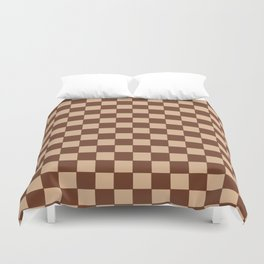 Checkers - Brown and Beige Duvet Cover
