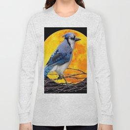 BLUE JAY & GOLDEN MOON LIGHT ABSTRACT Long Sleeve T-shirt