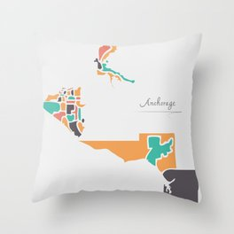 Anchorage Alaska Map with neighborhoods and modern round shapes Throw Pillow