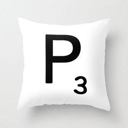 Letter P - Custom Scrabble Letter Tile Art - Scrabble P Initial Throw Pillow