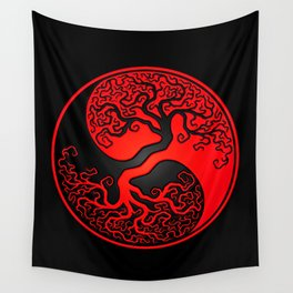 Red and Black Tree of Life Yin Yang Wall Tapestry