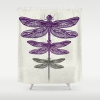 dragonfly Shower Curtains featuring Dragonfly  by rskinner1122
