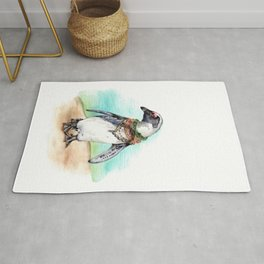 South African Penguin on the Beach Rug